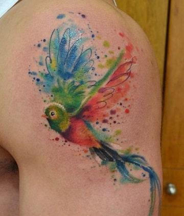 tatuajes de pájaros de colores en el hombro