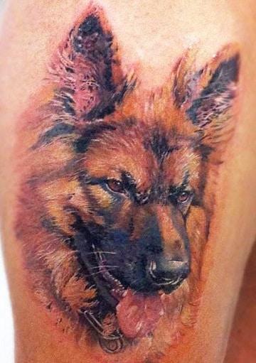 tatuajes de pastor aleman colores