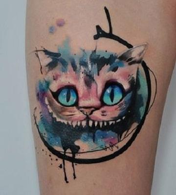 tatuajes del gato de alicia cara