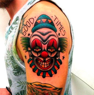 clasicos americanos tatuajes de caras de payasos