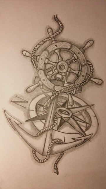 diseños de anclas para tatuar avejentada