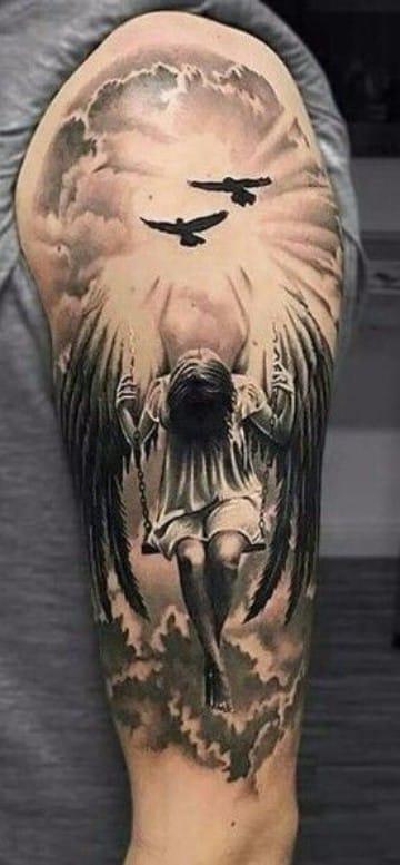 diseños de tatuajes de angeles en el hombro