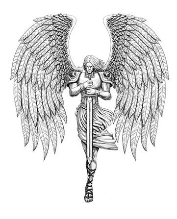 diseños de tatuajes del angel gabriel
