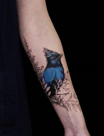 imagenes de tatuajes de pajaros en azul