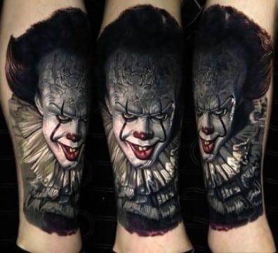 realismo en tatuajes de caras de payasos
