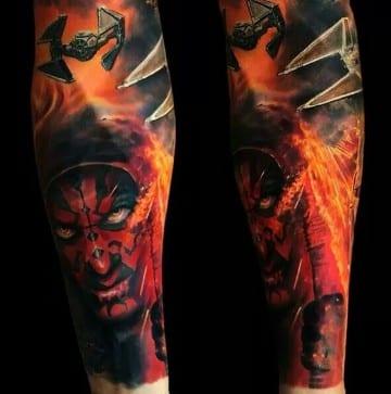tatuajes coloridos para hombres de star wars