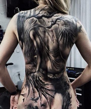 tatuajes de angeles caidos blanco y negro