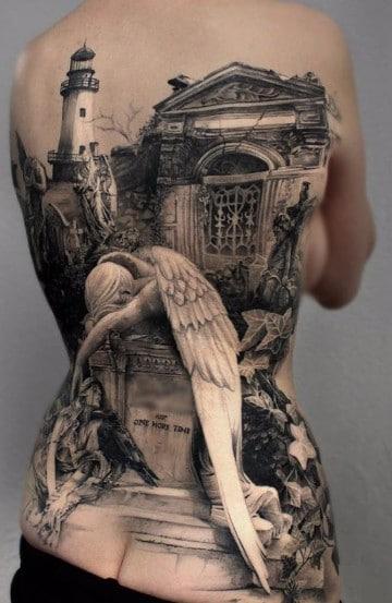 tatuajes de angeles caidos realistas