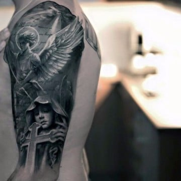 tatuajes de angeles de la guarda blanco y negro