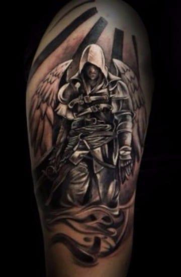 tatuajes de angeles guerreros en el brazo creativo