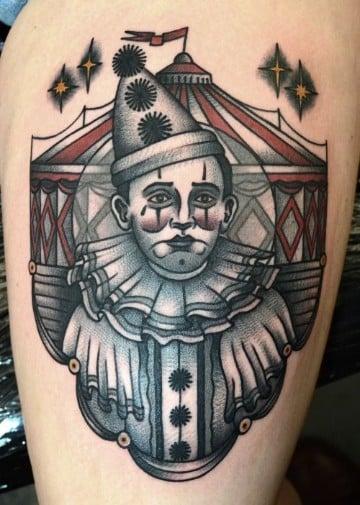 tatuajes de caras de payasos en blanco y negro