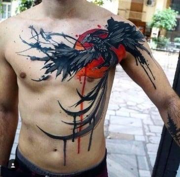 tatuajes de fenix para hombres en el pecho