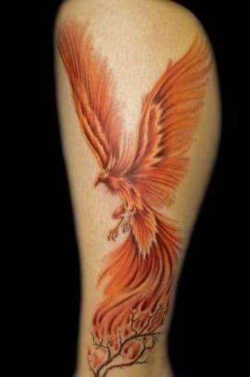 tatuajes de fenix para hombres en la pierna