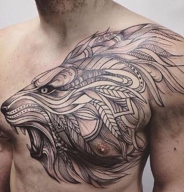 tatuajes de leones tribales frontal