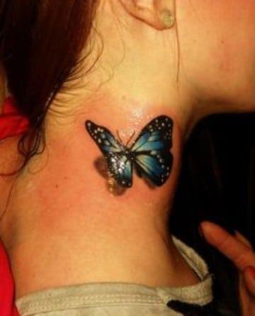 tatuajes de mariposas azules en el cuello