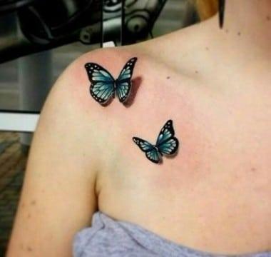 tatuajes de mariposas azules realistas
