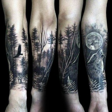 tatuajes media manga sombreados de bosques