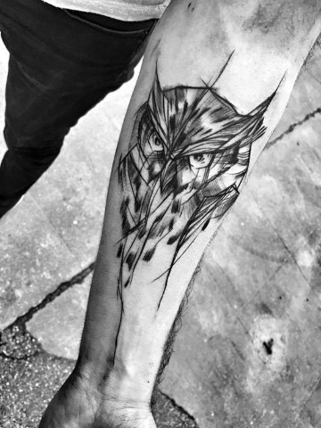 tatuajes de animales en el brazo buho