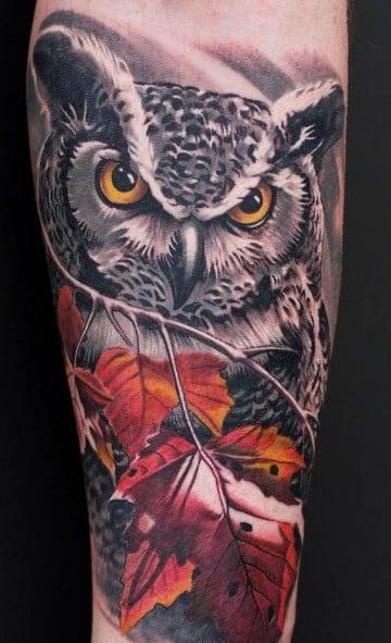 tatuajes de animales en el brazo lechuza