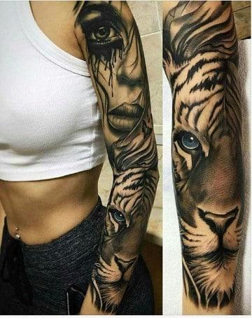 tatuajes de animales en el brazo tigre
