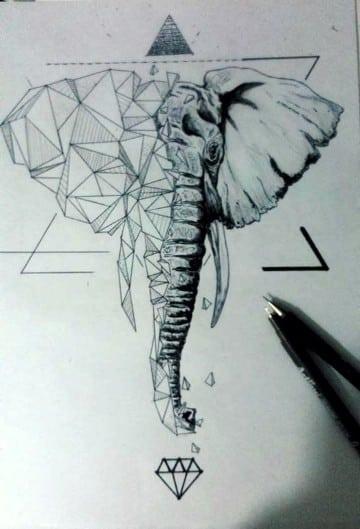 tatuajes de animales geometricos elefante