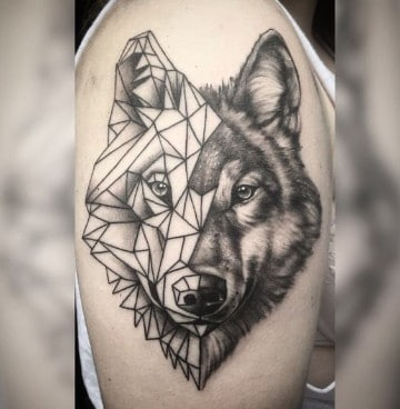 tatuajes de animales geometricos lobo