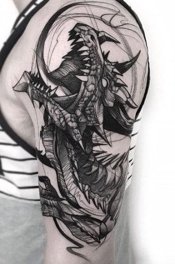 tatuajes de dragones en el hombro en sketch