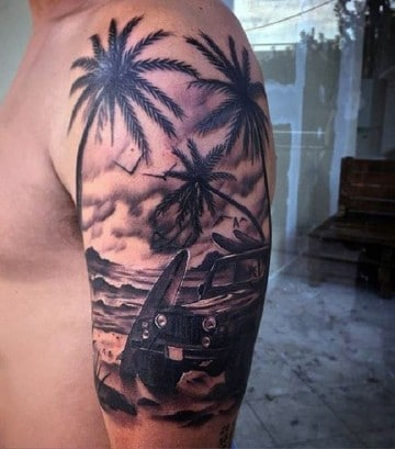 tatuajes de paisajes de playa realista