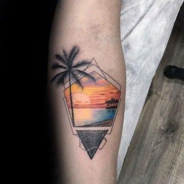 tatuajes de paisajes en el antebrazo creativos