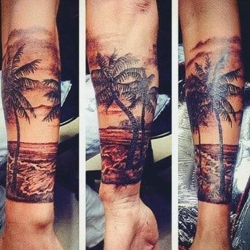 tatuajes de playas y palmeras manga