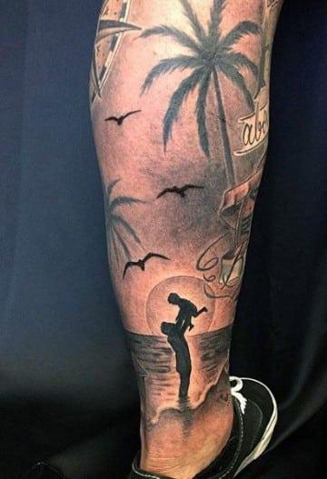 tatuajes de playas y palmeras realismo