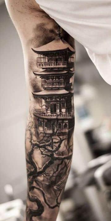 tatuajes de templos chinos para brazo