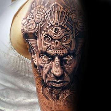 tatuajes aztecas y mayas en el brazo 3D