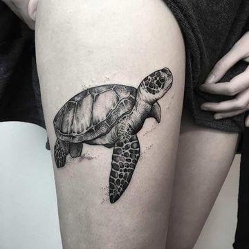 tatuajes de animales marinos pierna