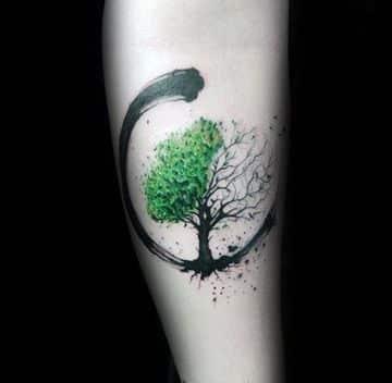 tatuajes de arboles en el brazo verde
