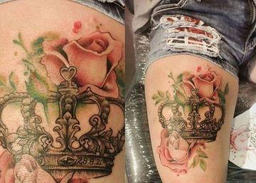 tatuajes de coronas a color pierna