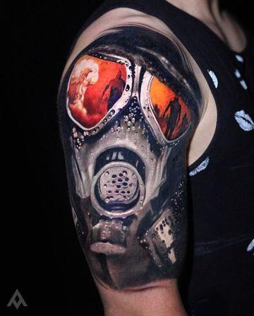 tatuajes de mascaras de gas increible