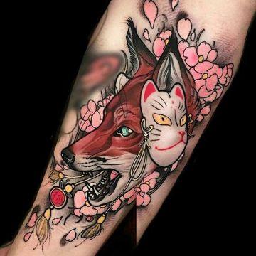 tatuajes de mascaras japonesas a colores