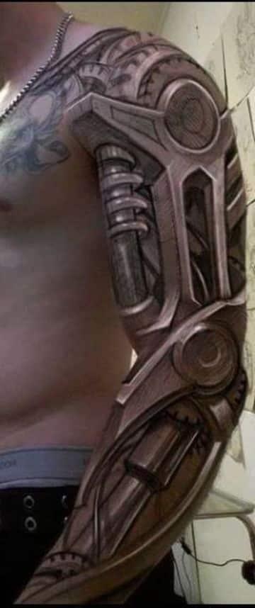 tatuajes biomecanicos en el brazo completo