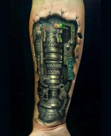 tatuajes biomecanicos en el brazo hombres