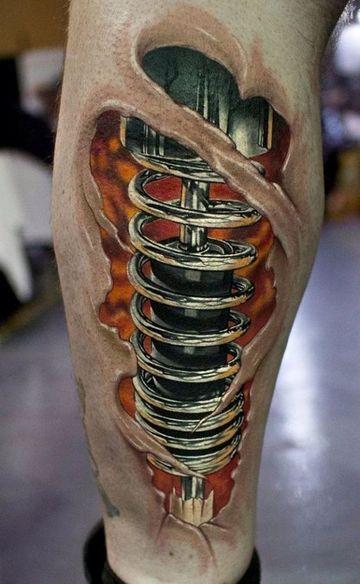 tatuajes biomecanicos pierna 3D