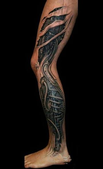 tatuajes biomecanicos pierna completa