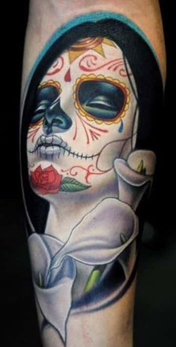 tatuajes de catrinas en el brazo a color