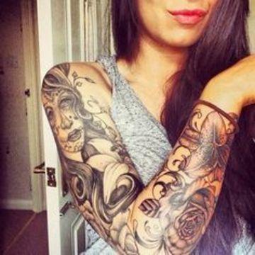 tatuajes de catrinas en el brazo mujer