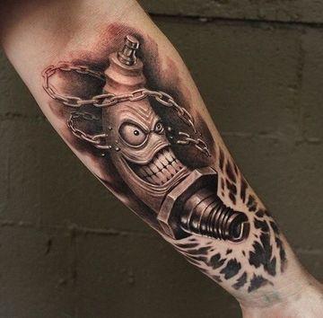 tatuajes de partes de motores spark plug