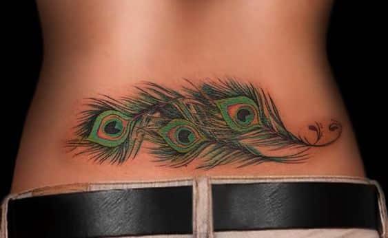 tatuajes de plumas de pavo real en parte baja espalda