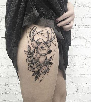 tatuajes de venados para mujeres en la pierna