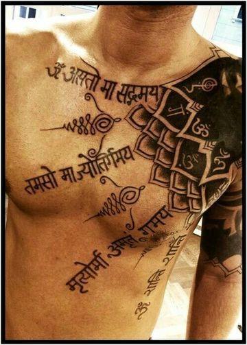 tatuajes hindu para hombres en el pecho