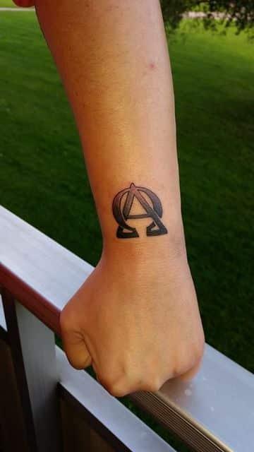 tatuajes de alfa y omega en la muñeca