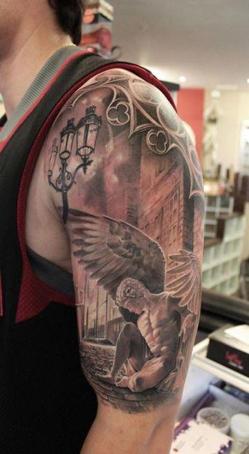 tatuajes de angeles en el brazo y hombro